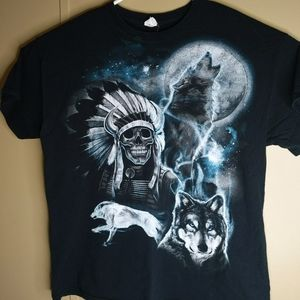 VTG Native American Indian Warrior Skull Wolf XL